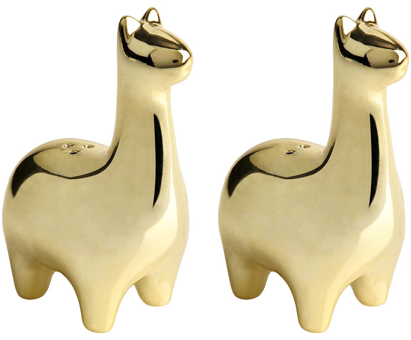 Set de salero y pimientero Lamas, 2pzas., Cerámica, Latón, Ancho 5 x Alto 9 cm