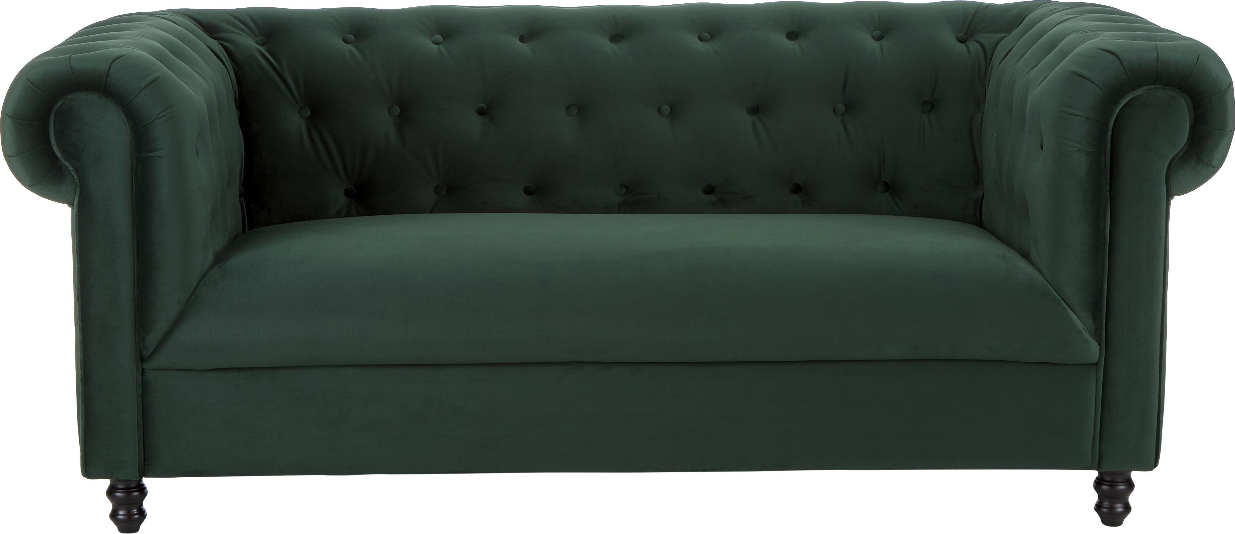 Chesterfield Samt-Sofa Chester (2-Sitzer), Bezug: Polyestersamt 20.000 Sche, Füße: Massives Eichenholz und N, Samt Waldgrün, B 186 x T 94 cm