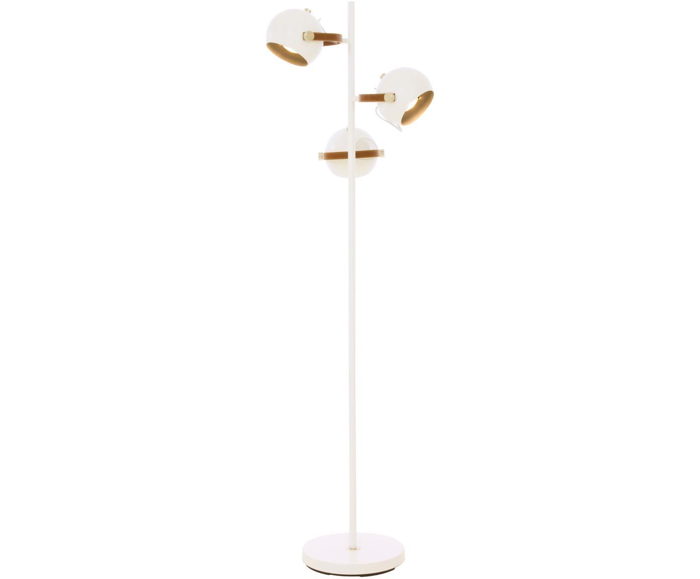Lámpara de pie Bow, Fijación: cuero sintético, Cable: plástico, Blanco, marrón, An 48 x Al 152 cm