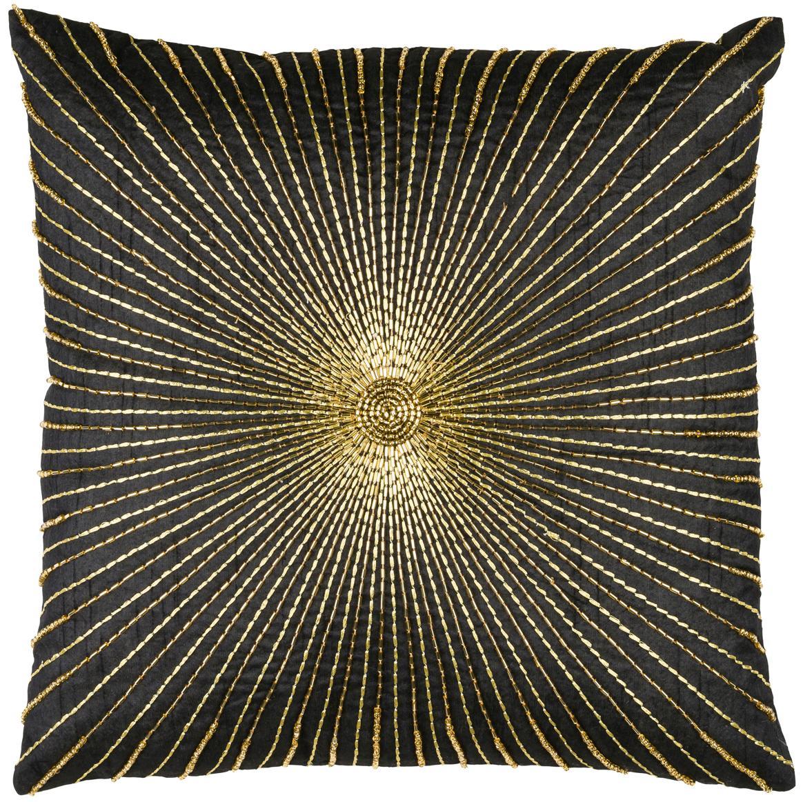 Federa arredo Ricamata Sunray, Poliestere, Nero, dorato, Larg. 40 x Lung. 40 cm