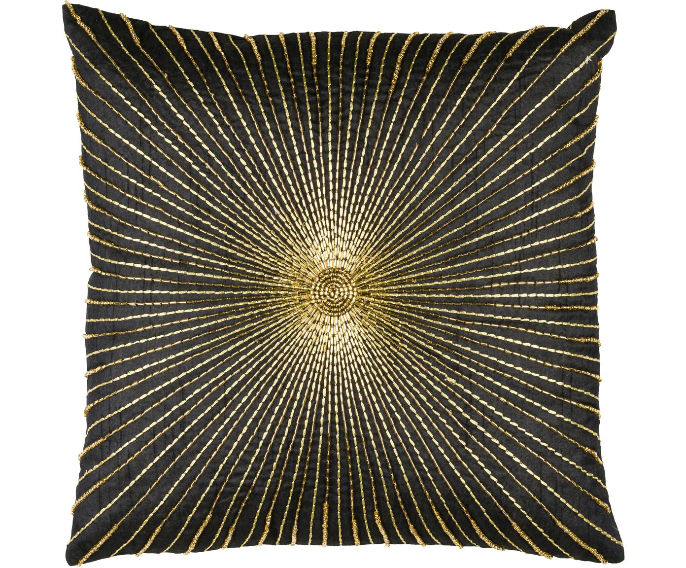 Kussenhoes Sunray met borduurwerk, Polyester, Zwart, goudkleurig, 40 x 40 cm