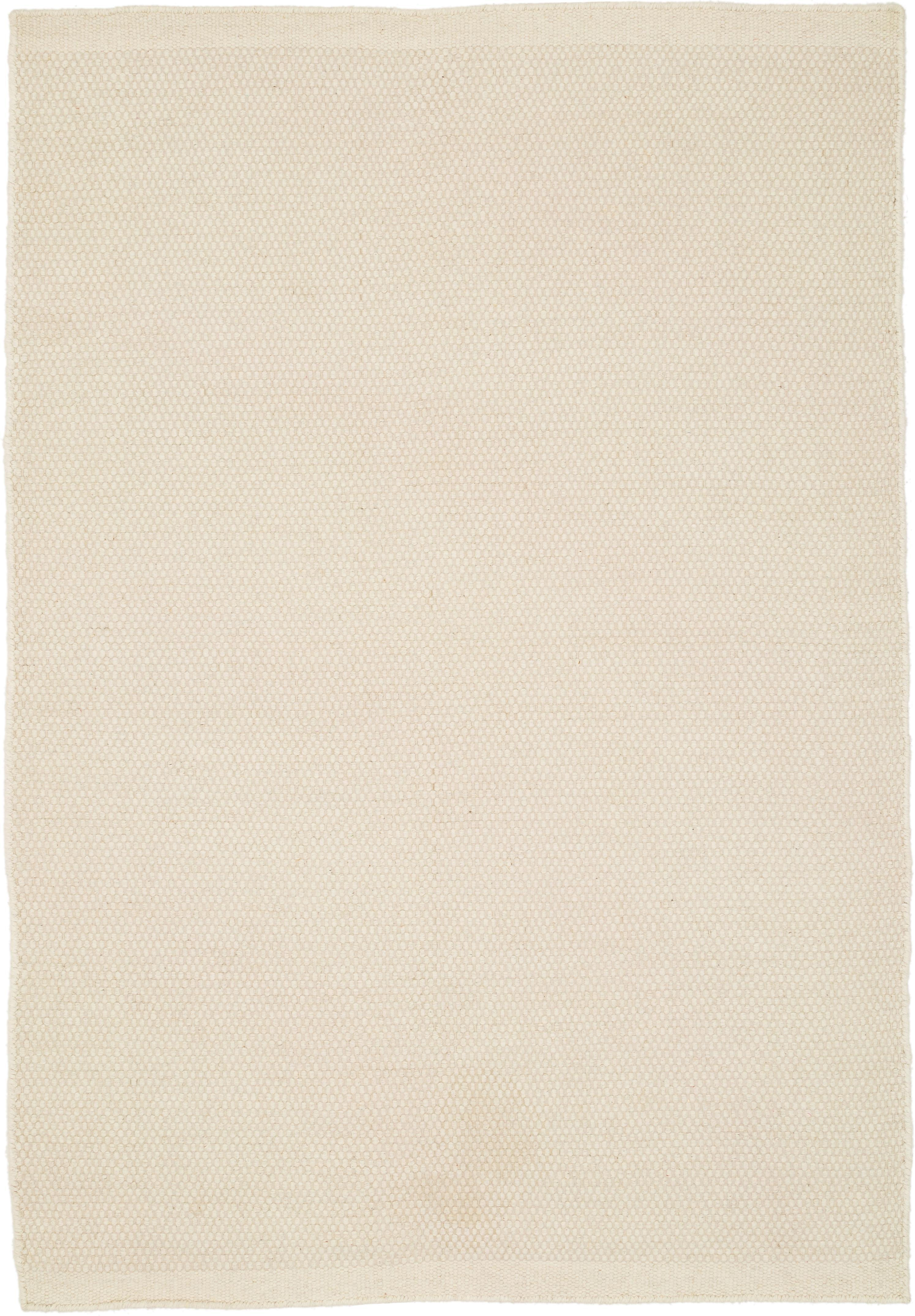 Handgewebter Kelimteppich Delight aus Wolle in Cremeweiss, Vorderseite: 90% Wolle, 10% Baumwolle, Rückseite: Baumwolle, Wollweiss, B 250 x L 350 cm (Grösse XL)