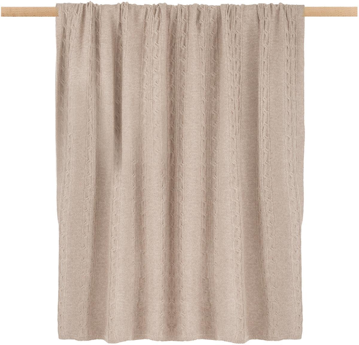Plaid in puro cashmere Leonie con motivo a trecce, 100% cashmere Il cashmere è molto morbido, confortevole e caldo, Taupe, Larg. 130 x Lung. 170 cm