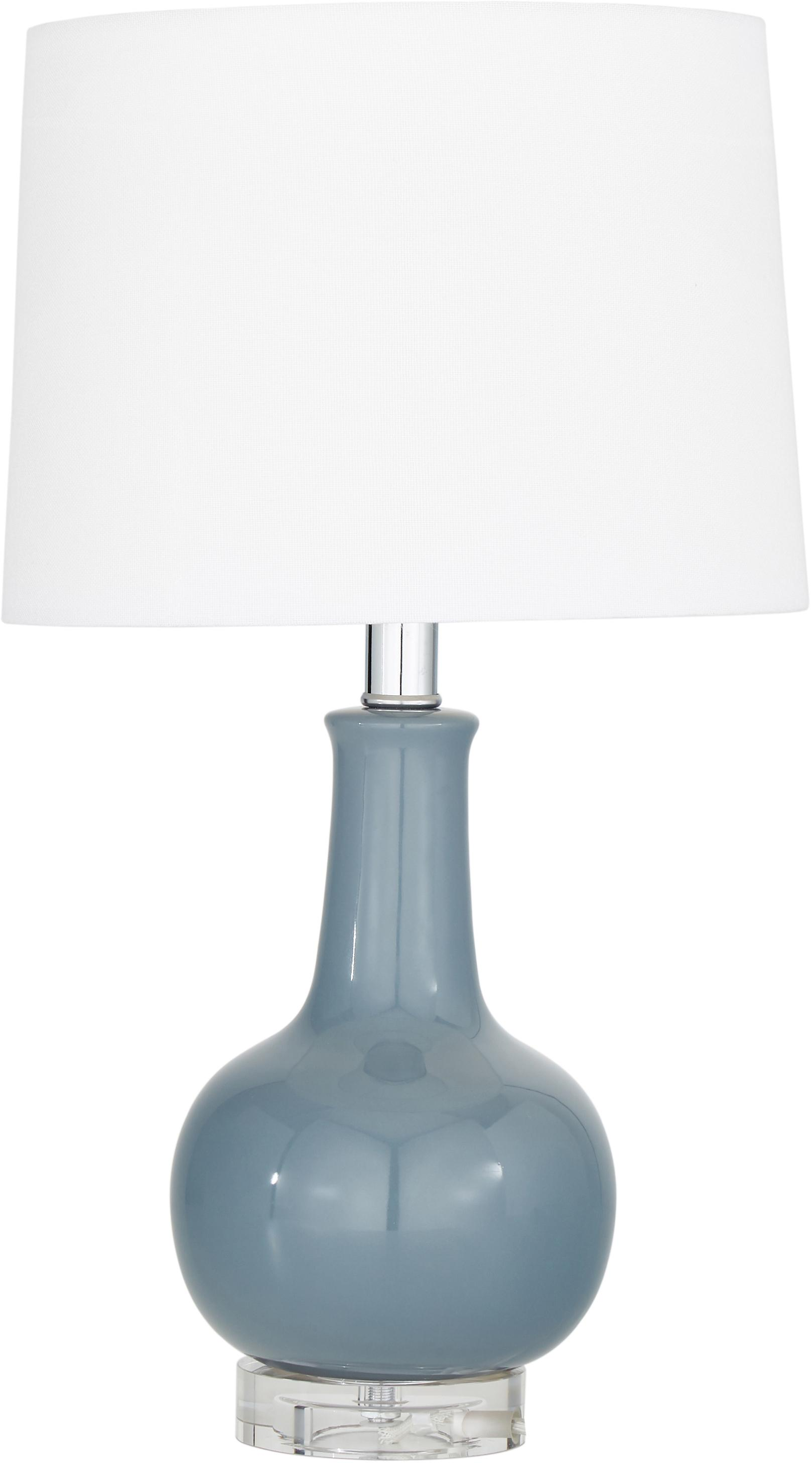 Keramische tafellamp Brittany, Lampenkap: textiel, Lampvoet: keramiek, kristalglas, Wit, grijs, Ø 28 x H 48 cm