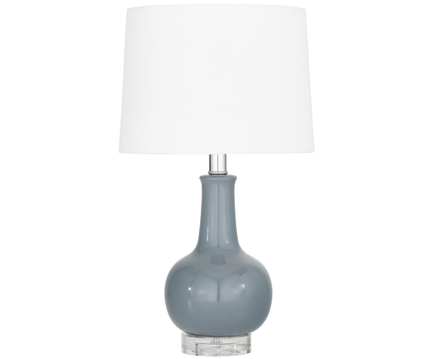 Lampa stołowa z ceramiki Brittany, Biały, szary, Ø 28 x W 48 cm