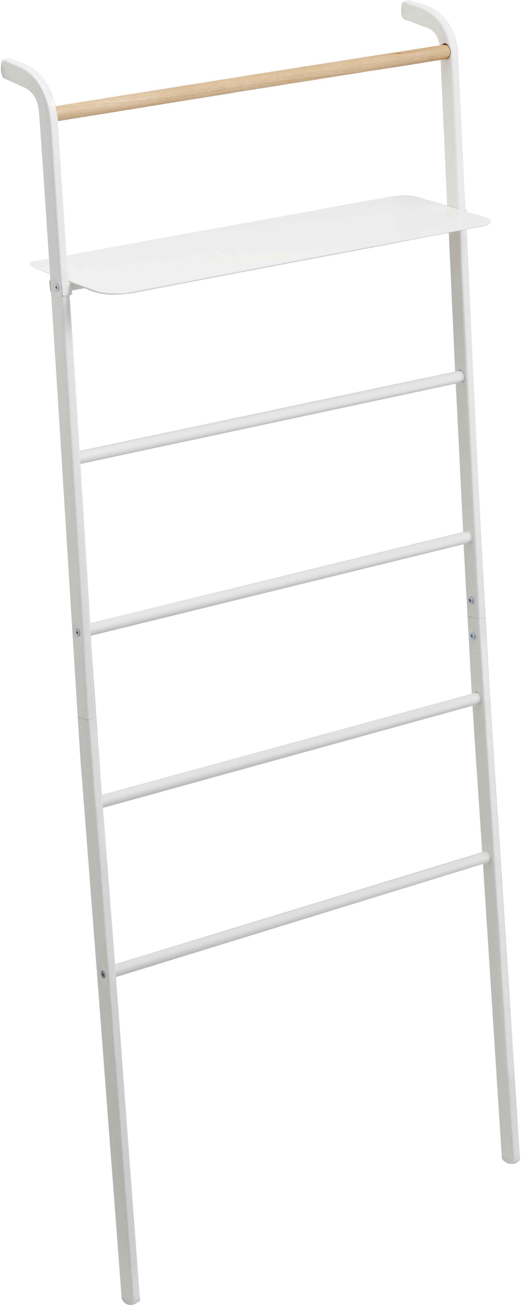 Estantería de escalera de metal Lena, Estructura: metal con pintura en polv, Blanco, An 66 x F 160 cm