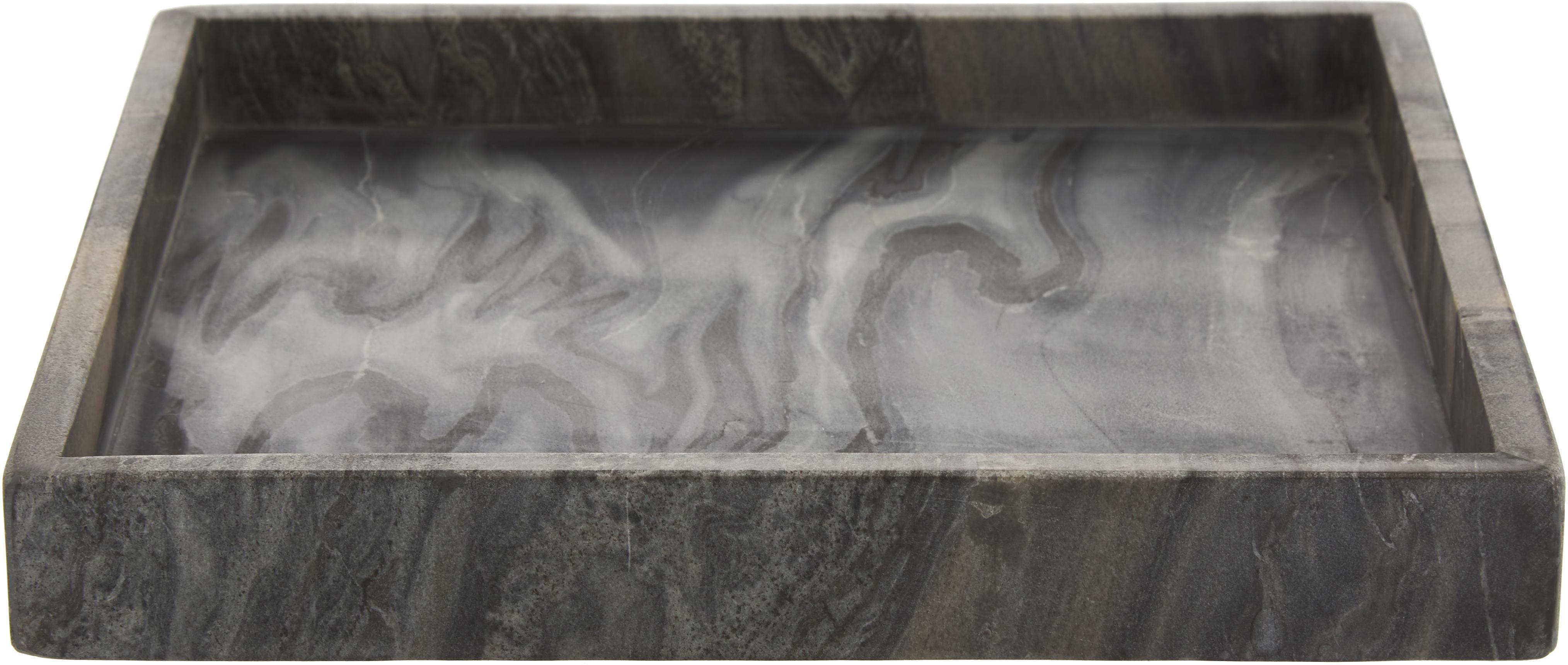 Decoratief marmeren dienblad Ciaran, Marmer, Gemarmerd grijs, B 30 x D 30 cm
