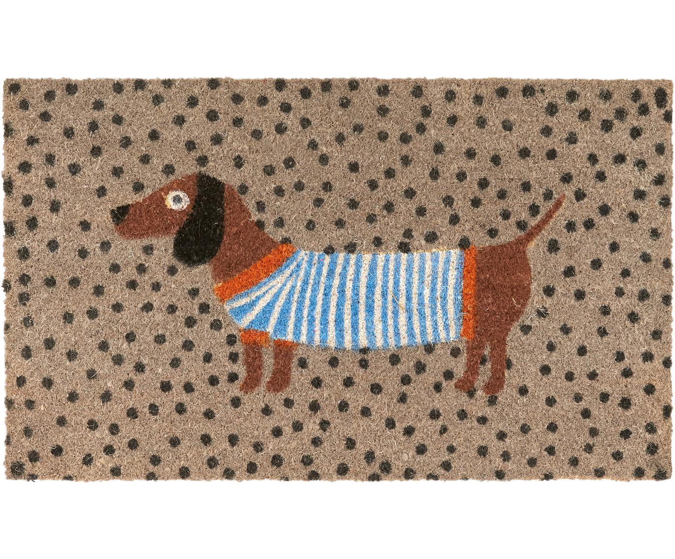 Deurmat Sausage Dog, Onderzijde: PVC, Multicolour, 45 x 75 cm