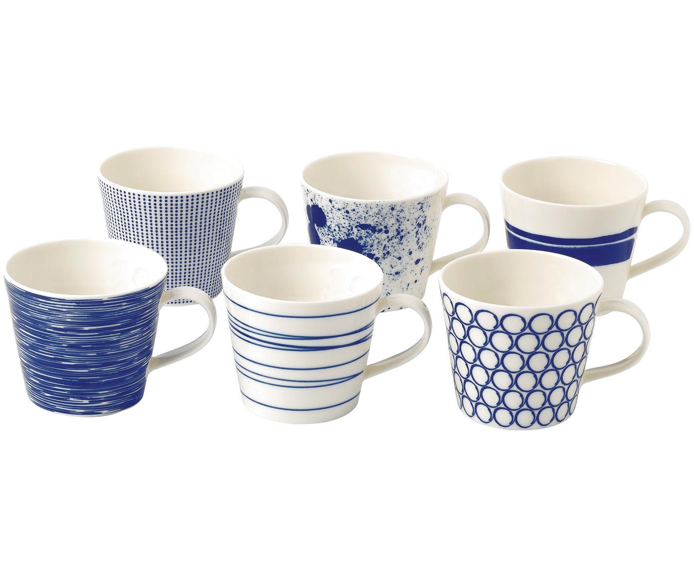 Gemusterte Porzellan-Tassen Pacific, 6er-Set, Porzellan, Weiß, Blau, Ø 10 x H 9 cm