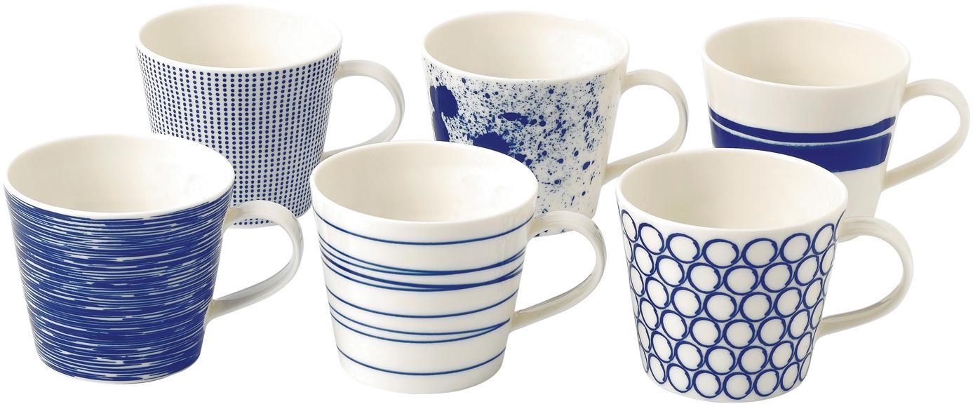 Gemusterte Porzellan-Tassen Pacific, 6er-Set, Porzellan, Weiss, Blau, Ø 10 x H 9 cm