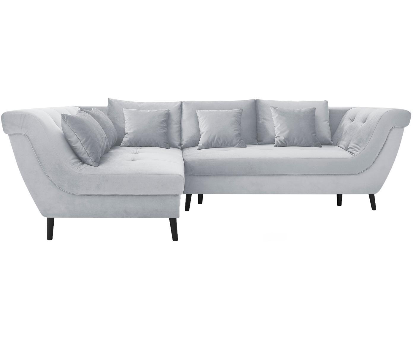 Sofa narożna z funkcją spania z aksamitu Real, Tapicerka: 100% aksamit poliestrowy, Nogi: metal lakierowany, Jasny szary, S 296 x G 172 cm