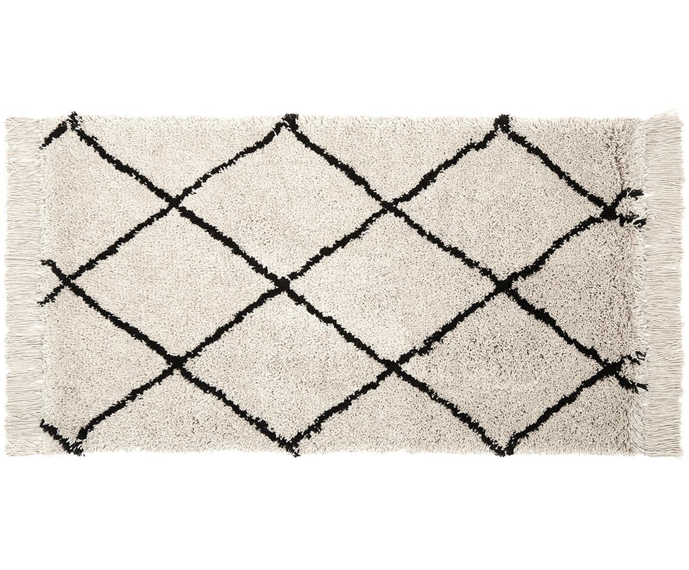 Alfombra artesanal con flecos Naima, Parte superior: poliéster, Reverso: algodón, Beige, negro, An 80 x L 150 cm (Tamaño XS)