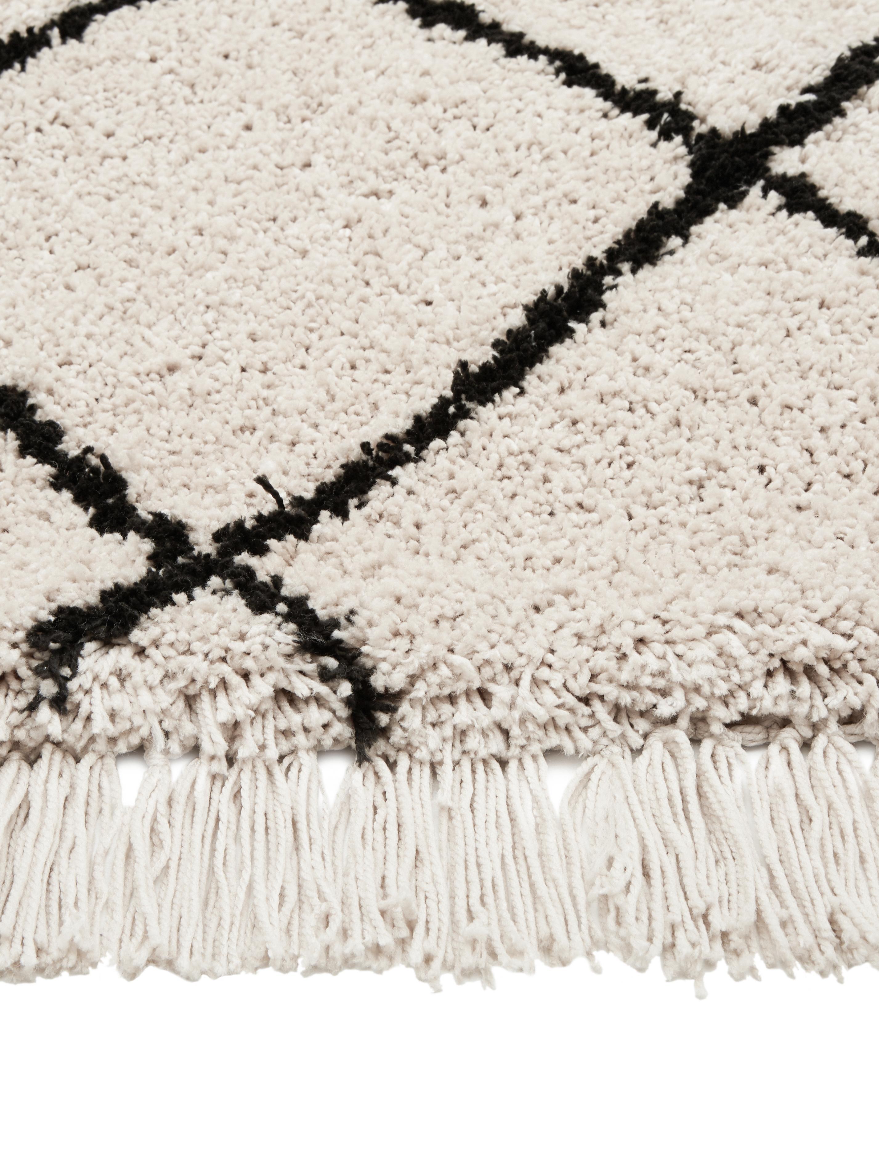 Handgetuft vloerkleed Naima met franjes, Bovenzijde: polyester, Onderzijde: katoen, Beige, zwart, B 200 x L 300 cm (maat L)
