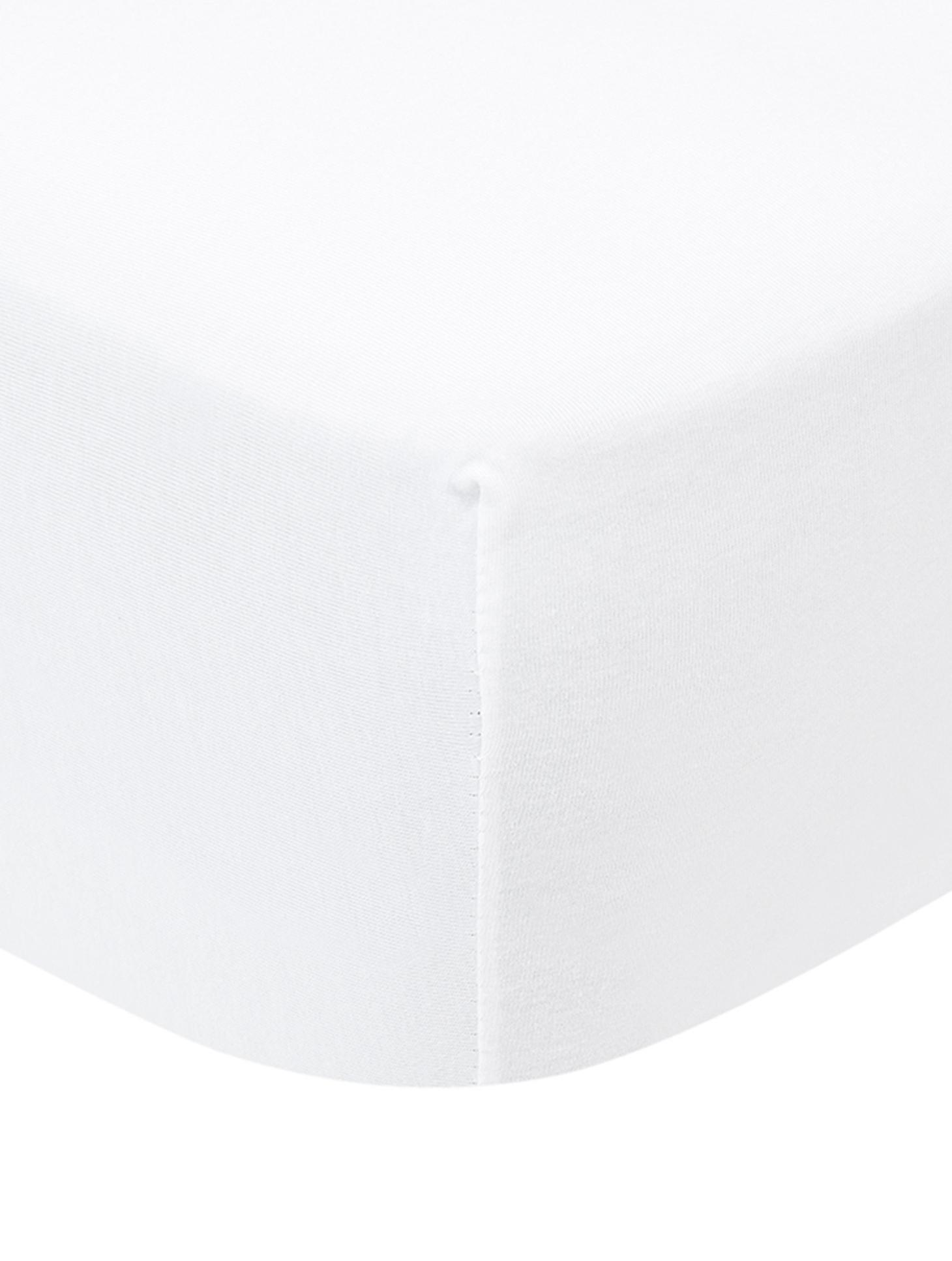 Prześcieradło na łóżko kontynentalne z gumką z jerseyu Lara, 95% bawełna, 5% elastan, Biały, S 200 x D 200 cm