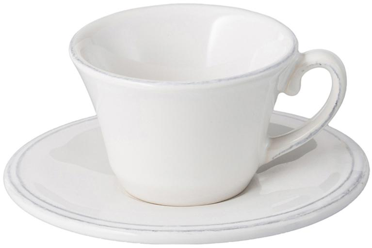 Komplet filiżanek do espresso ze spodkami Constance, 6 szt., Kamionka, Biały, Ø 13 x W 6 cm