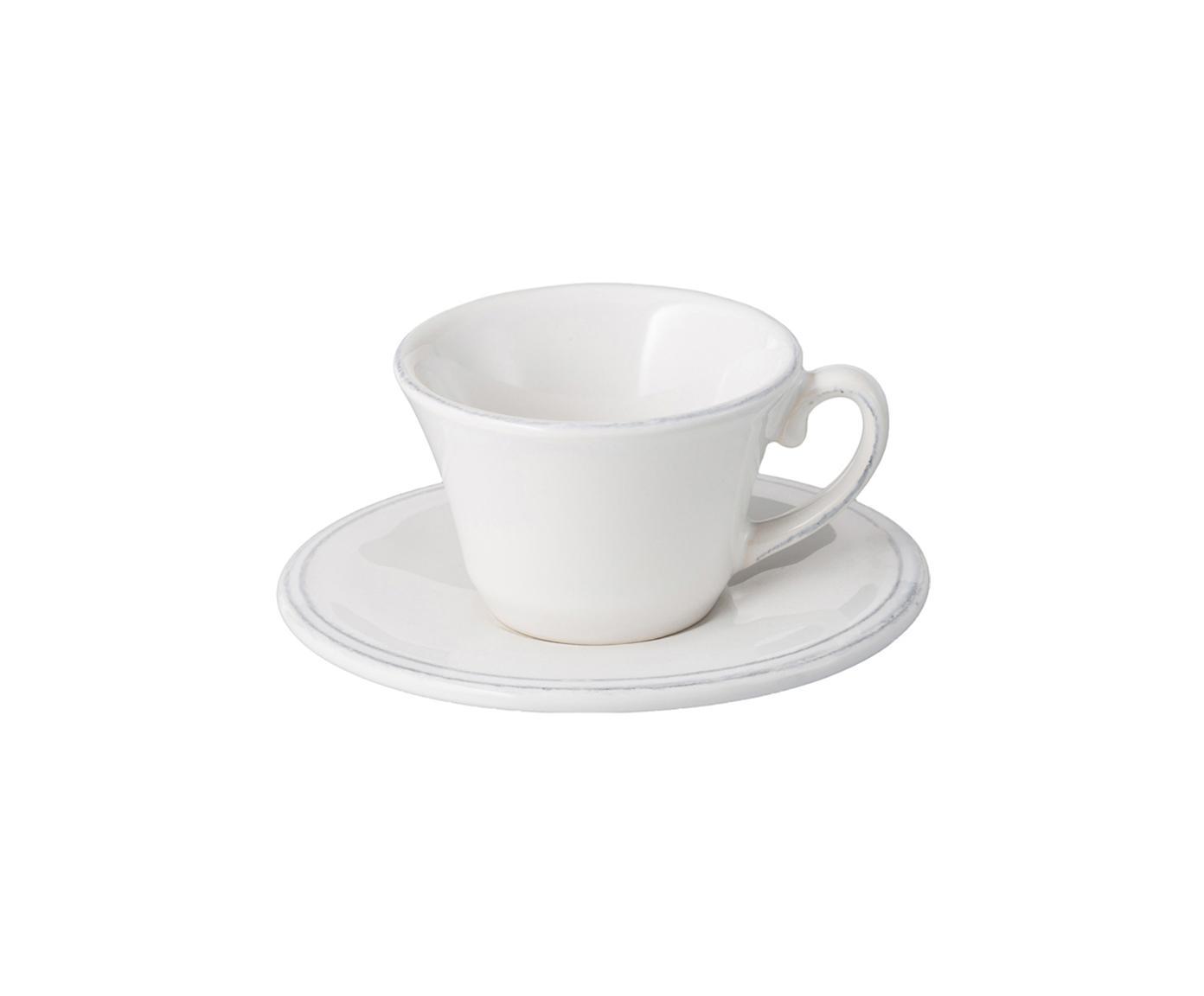 Espressotassen mit Untertassen Constance im Landhaus Style, 6 Stück, Steingut, Weiss, Ø 13 x H 6 cm