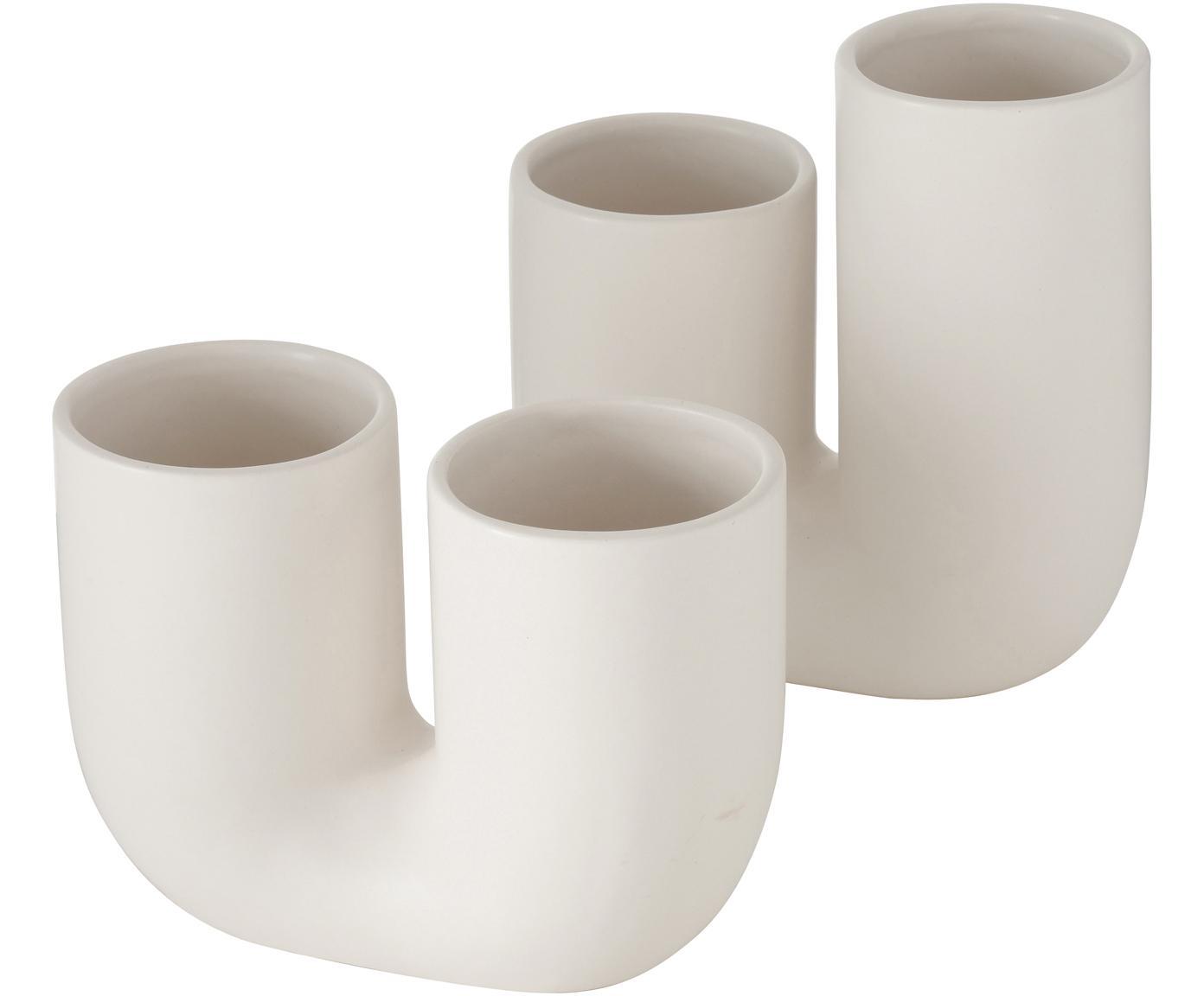 Set de jarrones de gres Filicio, 2pzas., Gres, Blanco, An 17 x Al 17 cm