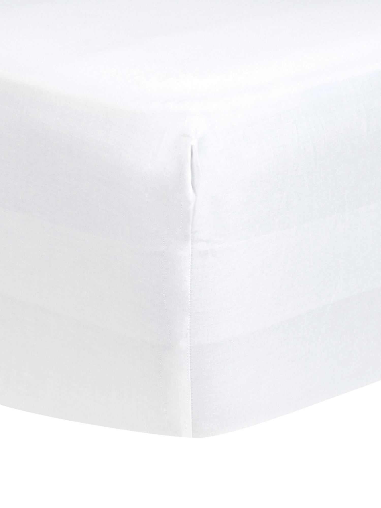 Prześcieradło z gumką na łóżko kontynentalne z satyny bawełnianej Comfort, Biały, S 90 x D 200 cm