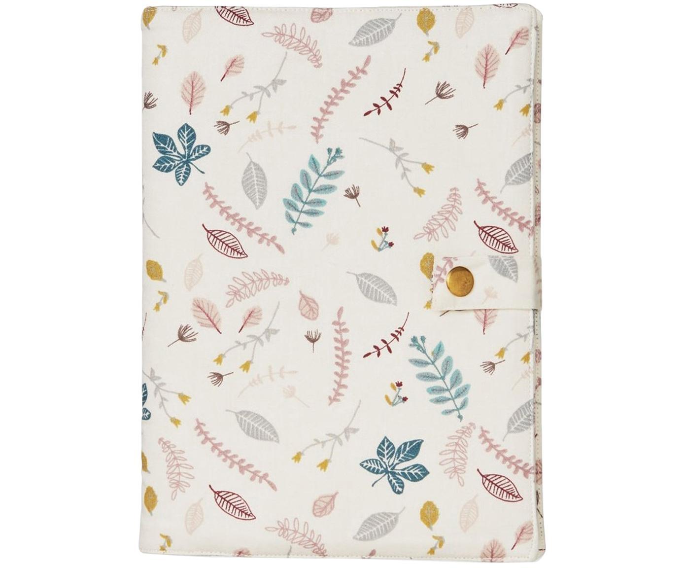 Funda para agenda de algodón ecológico Pressed Leaves, Algodón ecológico, certificado OCS, Rosa, multicolor, An 15 x Al 21 cm