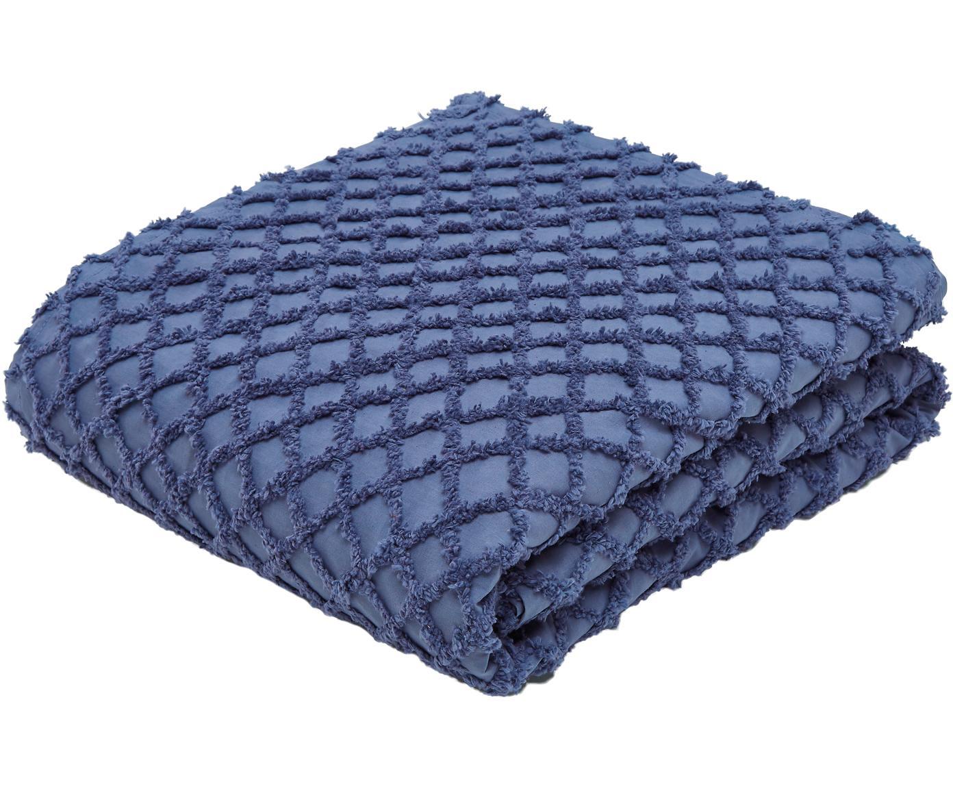 Tagesdecke Royal mit Hoch-Tief-Muster, 100% Baumwolle, Blau, 240 x 260 cm