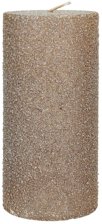 Stumpenkerze Flair, Wachs, Goldfarben, Ø 7 x H 15 cm
