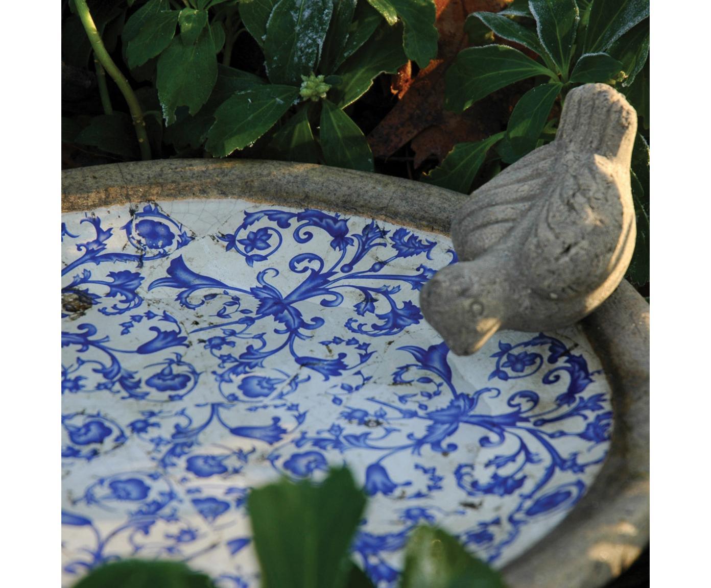 Bain d'oiseaux en céramique Adela, Bleu, blanc cassé, beige