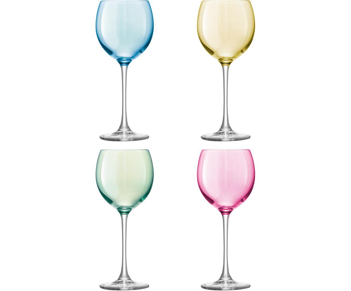 Handbeschilderde wijnglazenset Polka, 4-delig, Glas, Blauw, groen, roze, geel, Ø 9 x H 21 cm