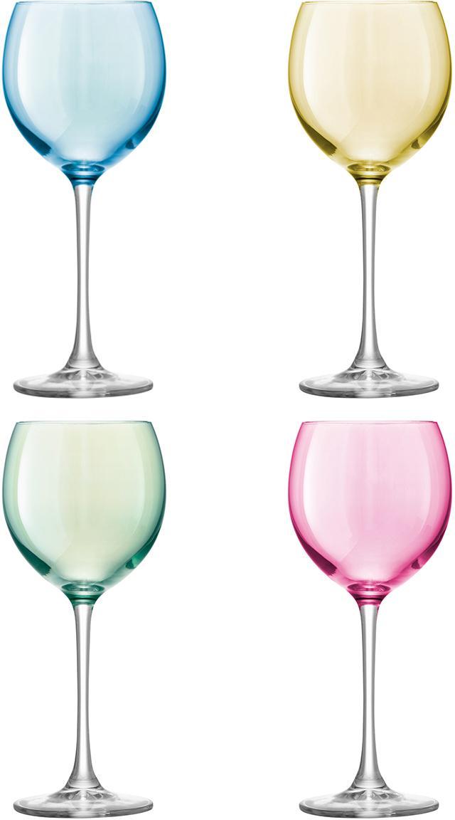 Handbemalte Weingläser Polka, 4er-Set, Glas, Blau, Grün, Rosa, Gelb, Ø 9 x H 21 cm
