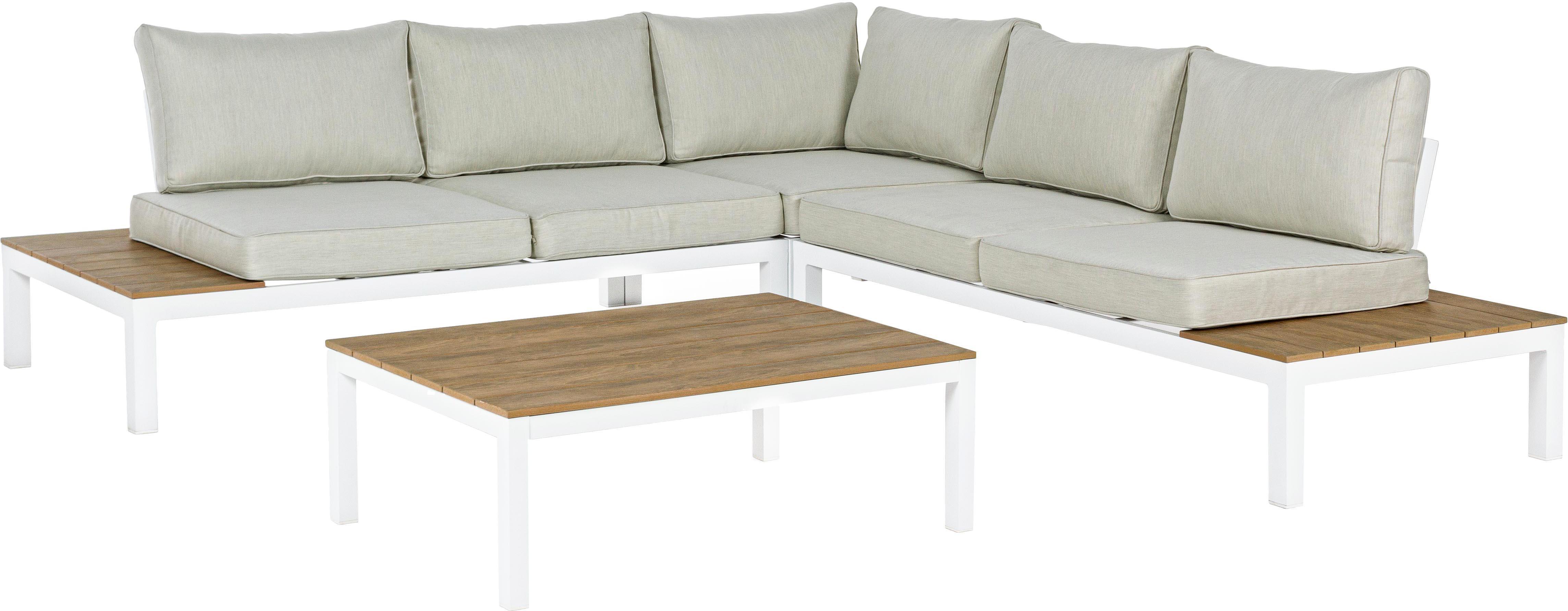 Set lounge de exterior Elias, 4pzas., Estructura: aluminio con pintura en p, Asiento: madera contrachapada recu, Blanco, teca, beige, Tamaños diferentes