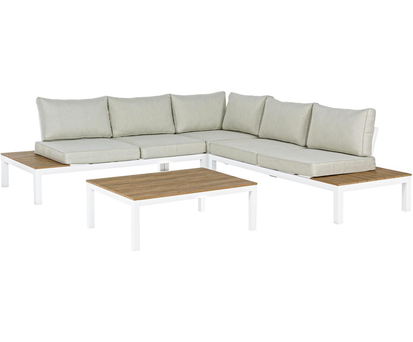 Komplet mebli ogrodowych Elias, 4 elem., Stelaż: aluminium, malowane prosz, Tapicerka: poliester, Biały, drewno tekowe, beżowy, Różne rozmiary