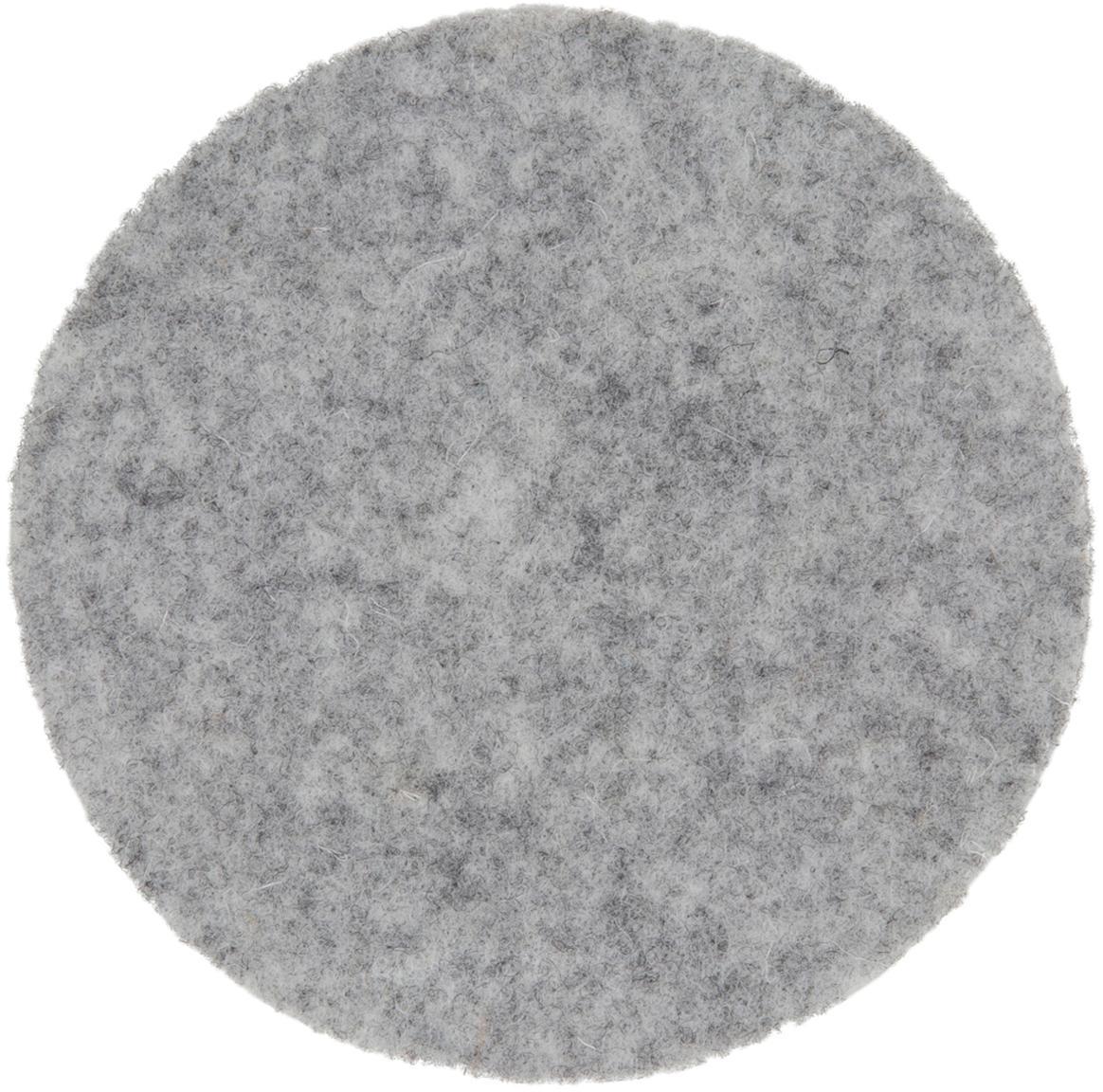 Posavasos de fieltro Leandra, 6uds., 90% lana, 10% polietileno, Gris claro, Ø 10 cm