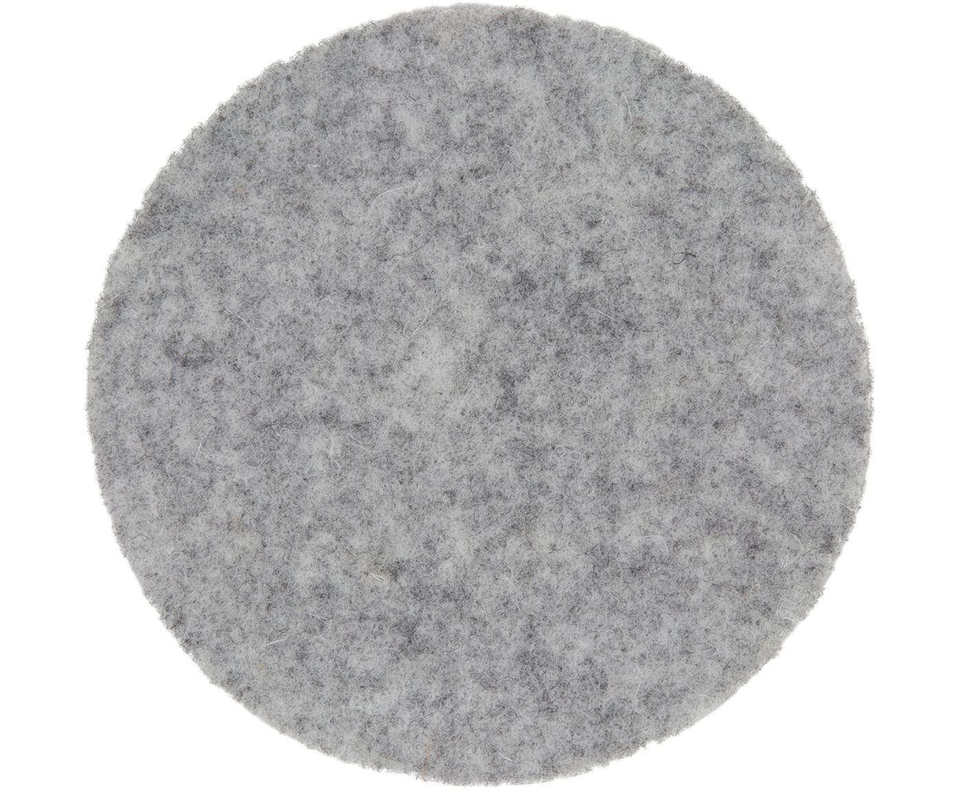 Wollfilz-Untersetzer Leandra, 6 Stück, 90% Wolle, 10% Polyethylen, Hellgrau, Ø 10 cm