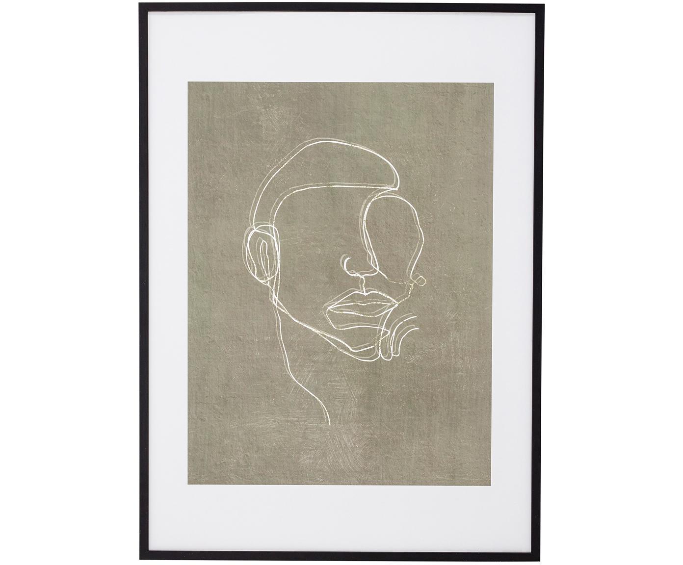 Ingelijste digitale print Espen, Lijst: hout, Zwart, greige, wit, 52 x 72 cm