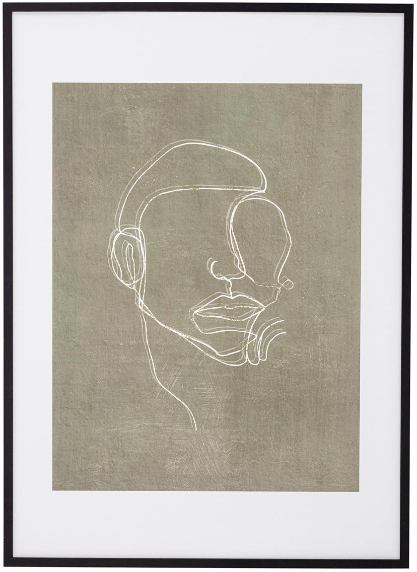 Gerahmter Digitaldruck Espen, Rahmen: Kiefernholz, beschichtet, Bild: Papier, Schwarz, Greige, Weiss, 52 x 72 cm