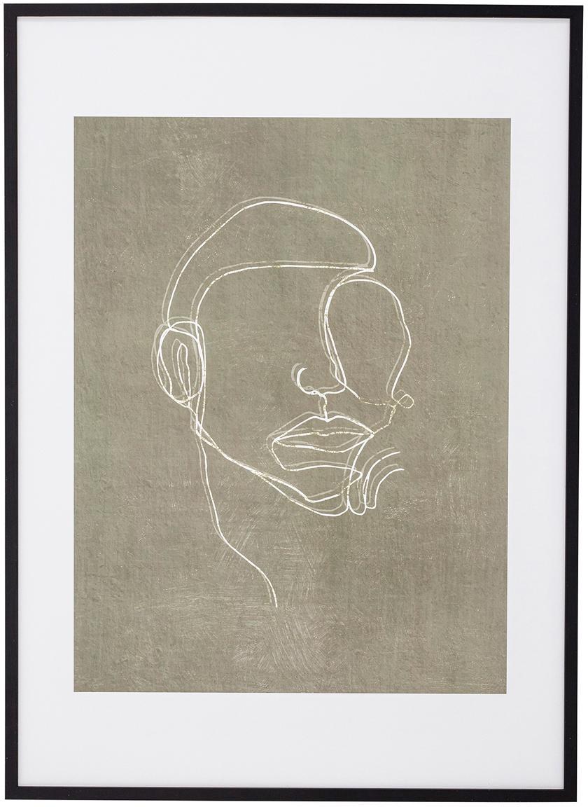Impresión digital enmarcada Espen, Negro, greige, blanco, An 52 x Al 72 cm