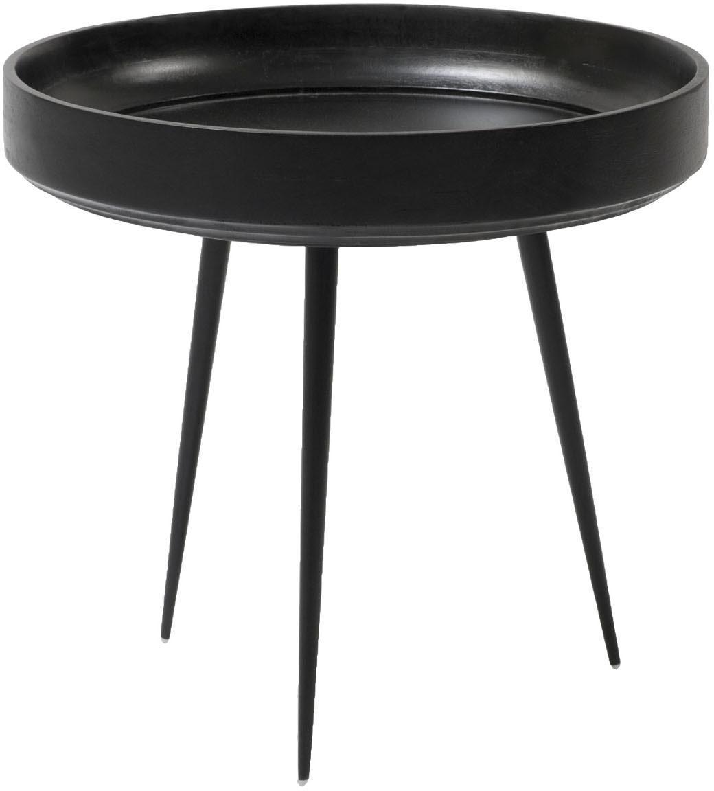 Kleiner Design-Beistelltisch Bowl Table aus Mangoholz, Tischplatte: Mangoholz, gebeizt und kl, Beine: Stahl, pulverbeschichtet, Schwarz, Ø 40 x H 38 cm