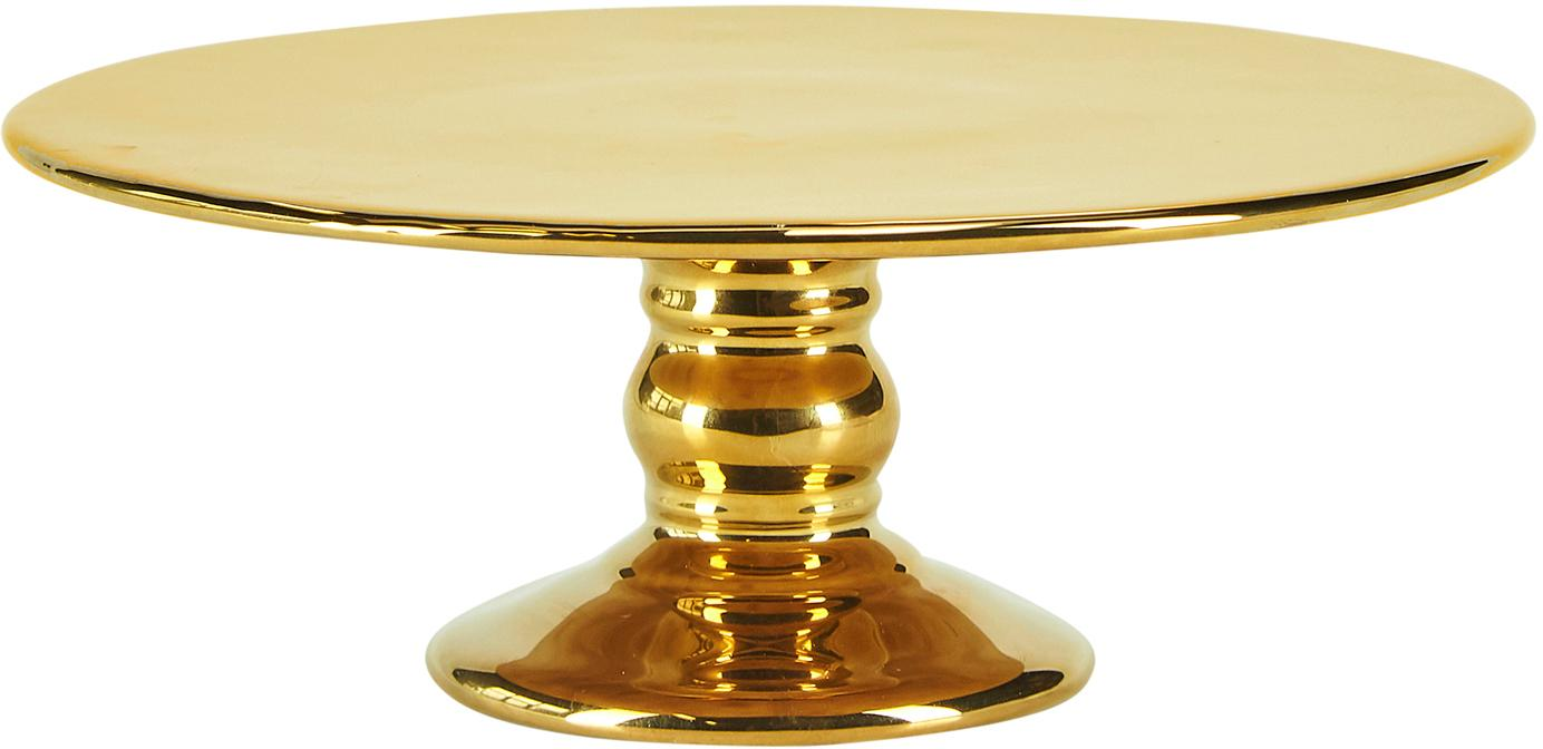 Taartplateau Tarta, Keramiek, Glanzend goudkleurig, Ø 26 x H 10 cm