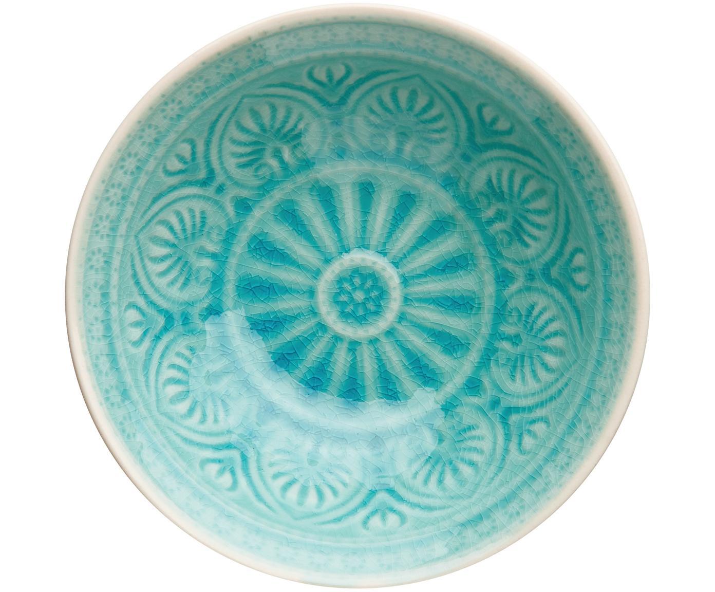 Handbemaltes Schälchen Sumatra in Türkis, Steingut, Türkis, Ø 14 cm
