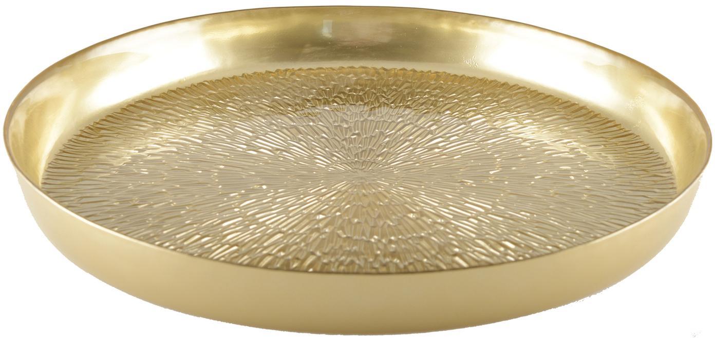 Serviertablett Aladora in Gold und elegantem Muster, Glas, Goldfarben, Ø 35 cm