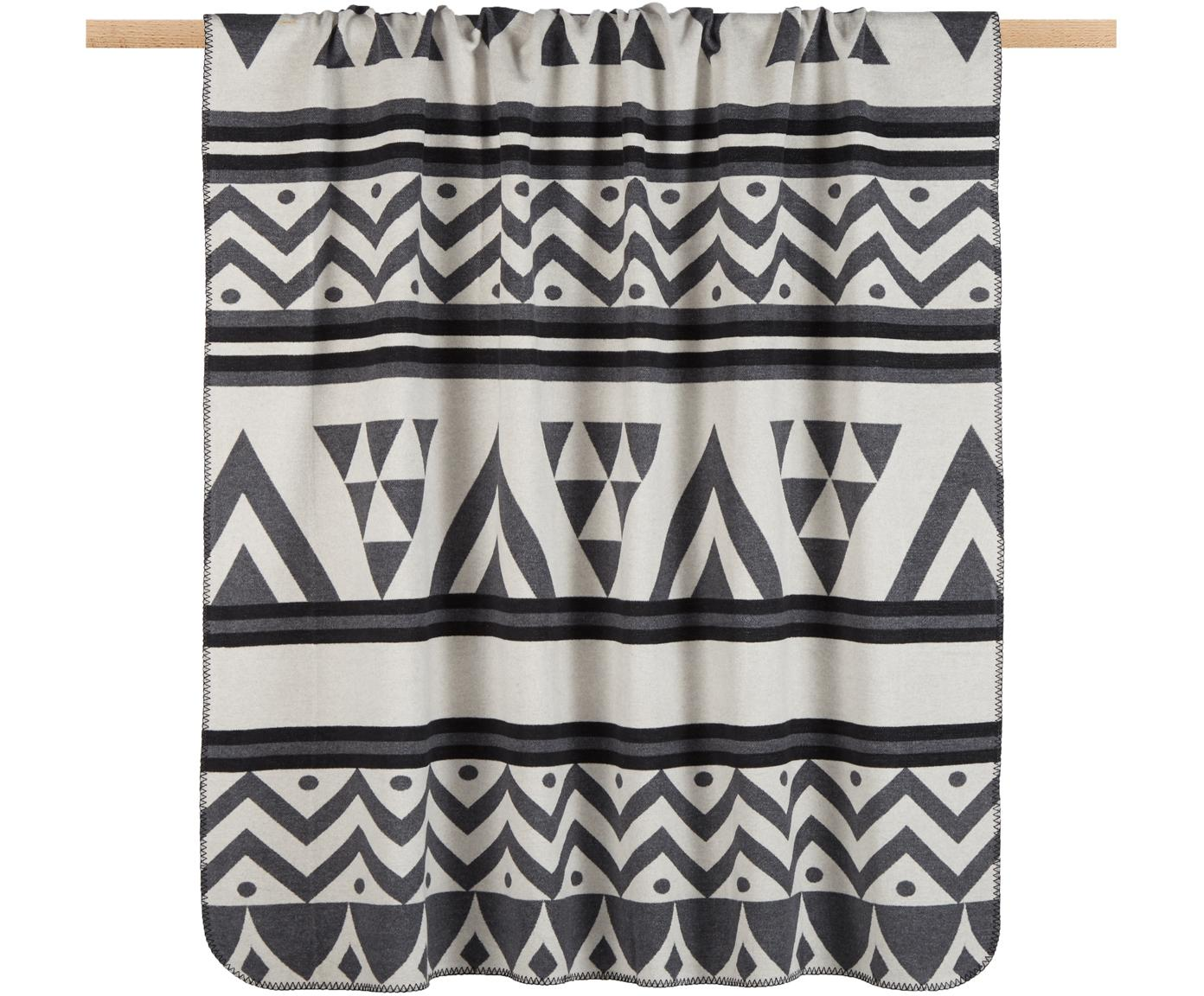 Manta Cape, 65%algodón, 35%poliacrílico, Negro, gris, beige, An 150 x L 200 cm