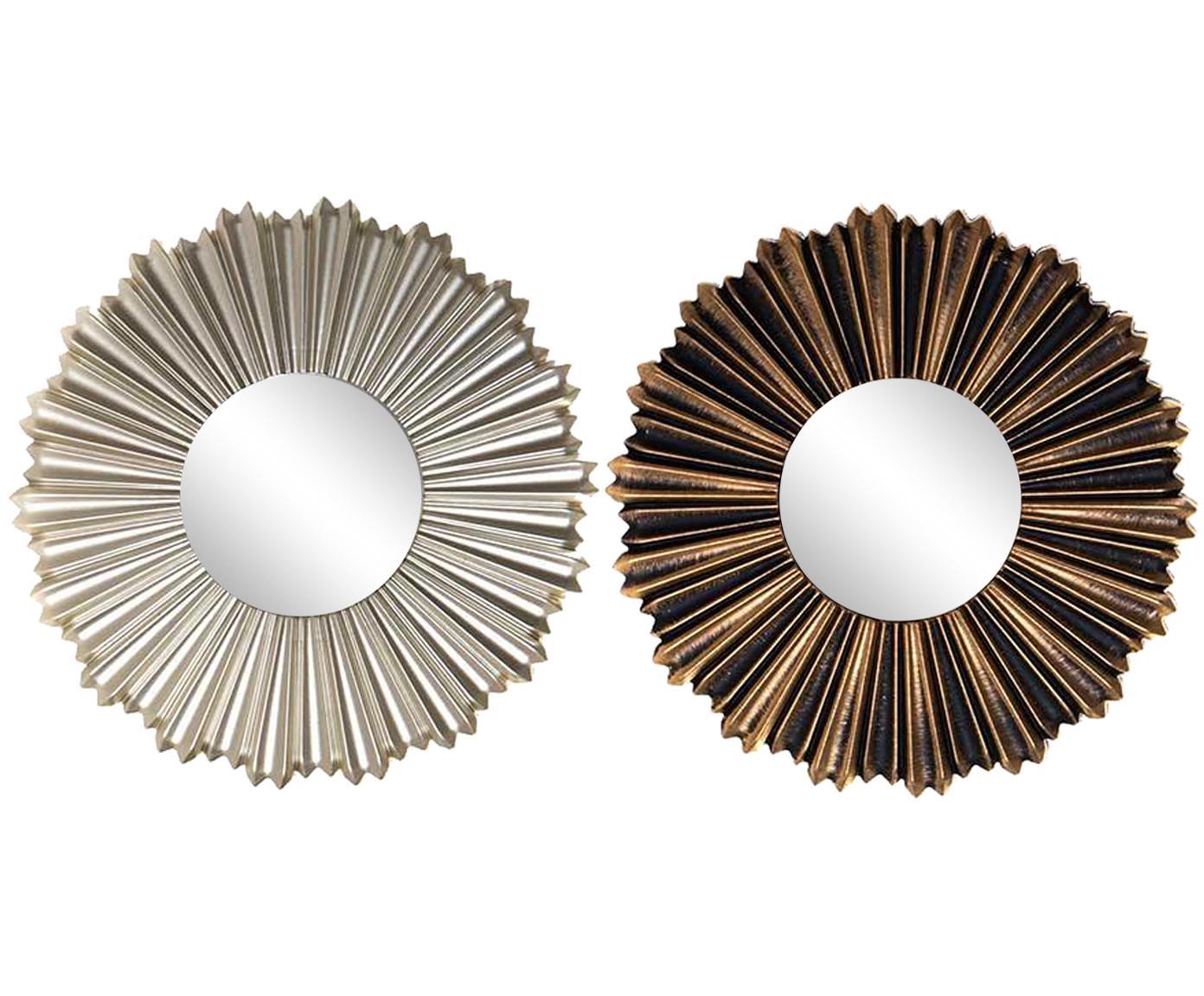 Set de espejos de pared Jeroen, 6 pzas., Polipropileno Espejo de cristal Cartón, Plateado, marrón, Ø 25 cm