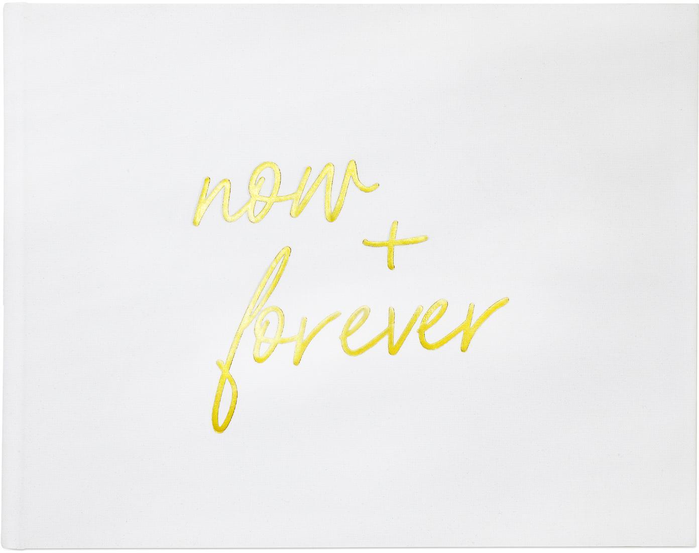 Gästebuch Now&Forever, Weiß, Goldfarben, 28 x 22 cm