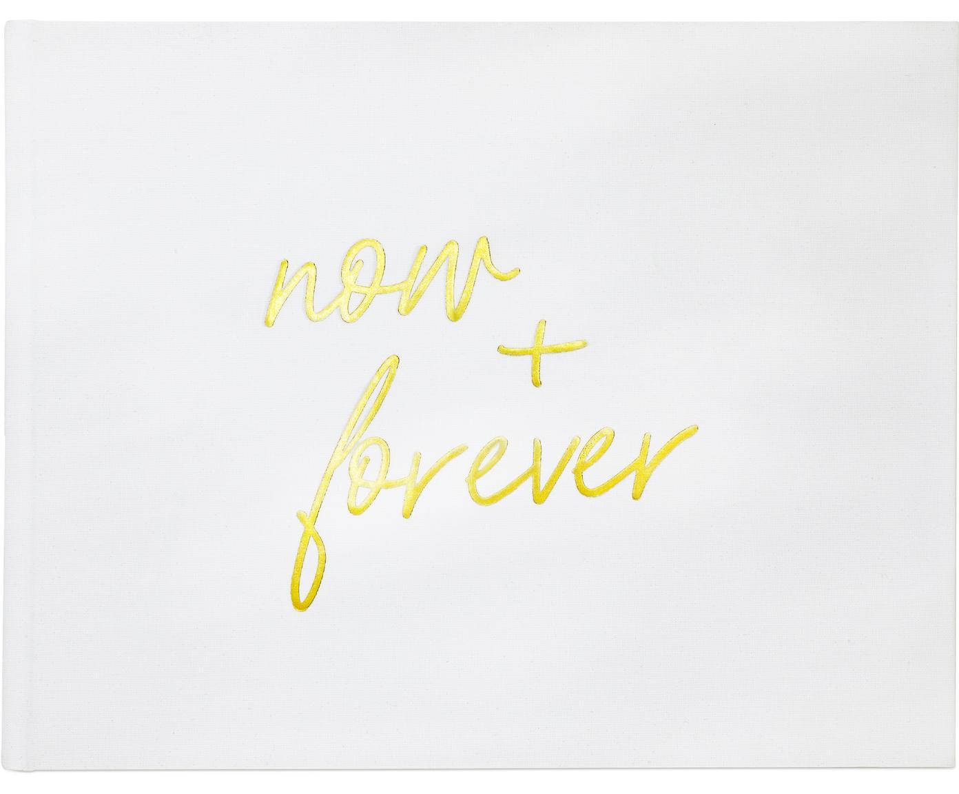 Gästebuch Now&Forever, Weiss, Goldfarben, 28 x 22 cm
