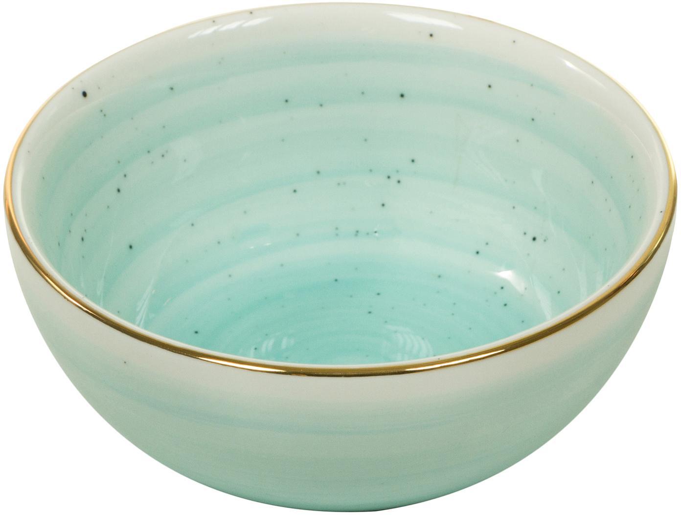Handgemaakte schalen Bol met goudkleurige rand, 2 stuks, Porselein, Turquoiseblauw, Ø 10 x H 6 cm
