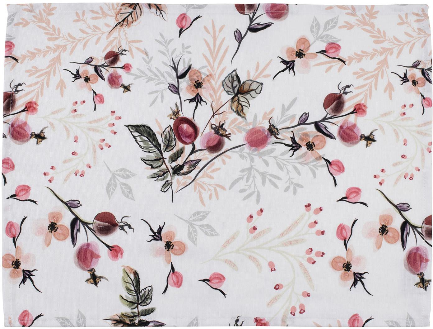 Manteles individuales Beas, 2uds., 100%algodón, Rosa, blanco, An 38 x L 50 cm