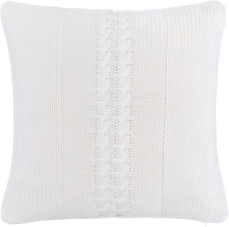 Funda de cojín de punto Lucas, 100%algodón, Blanco crema, An 40 x L 40 cm