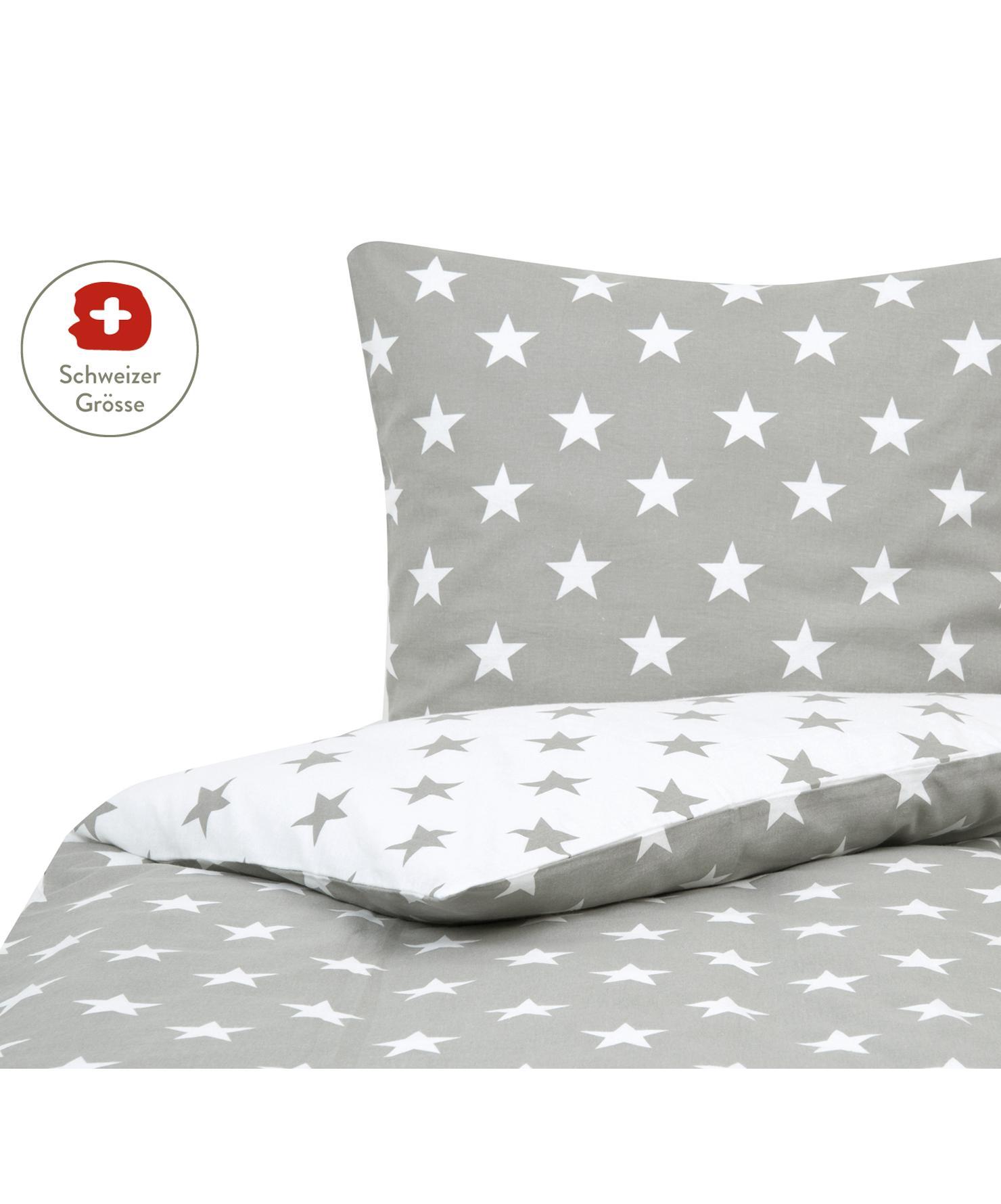 Flanell-Wendebettdeckenbezug Alice mit Sternen, Webart: Flanell, Grau, Weiss, 200 x 210 cm