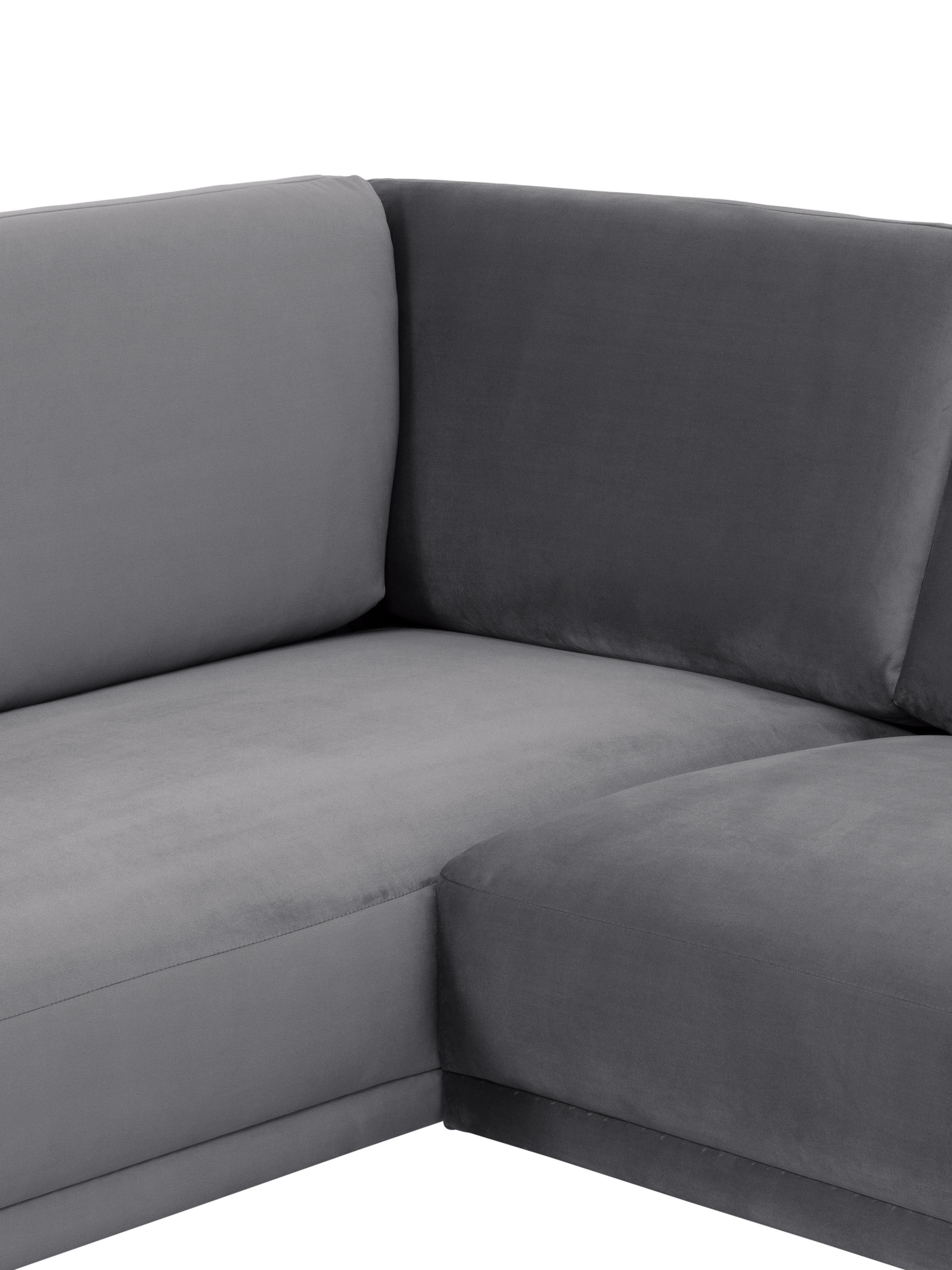 Canapé d'angle velours gris brun Fluente, Velours brun-gris