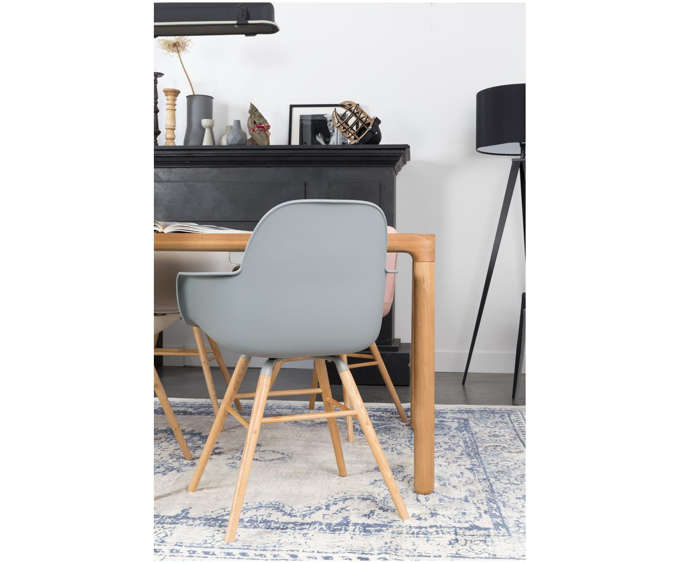 Armlehnstuhl Albert Kuip mit Holzbeinen, Sitzfläche: 100% Polypropylen, Füße: Eschenholz, Grau, B 59 x T 55 cm