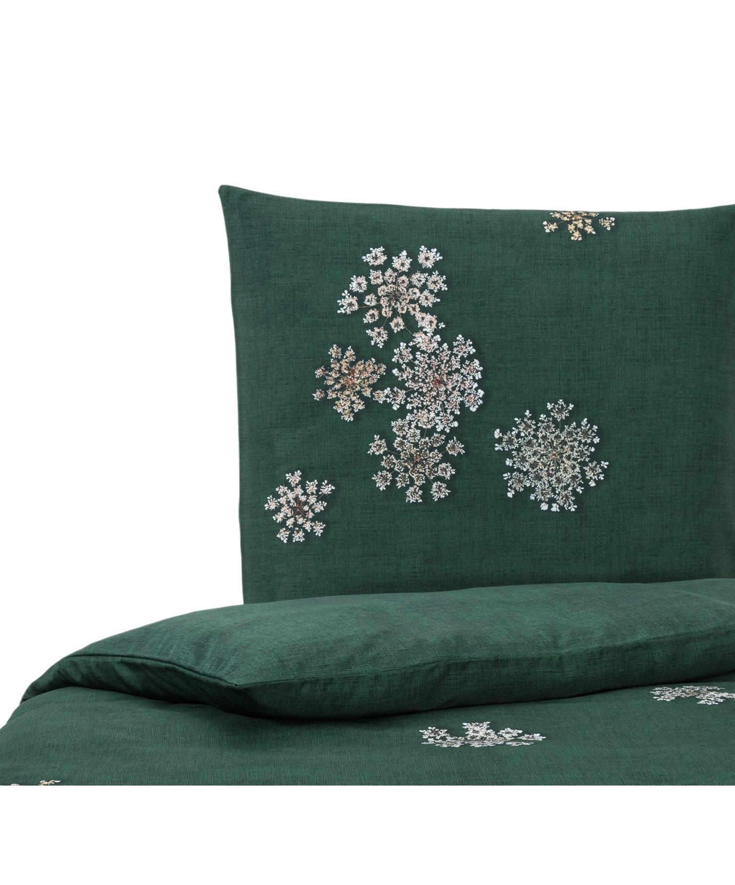Katoenen dekbedovertrek Lauren, Groen, 140 x 220 cm
